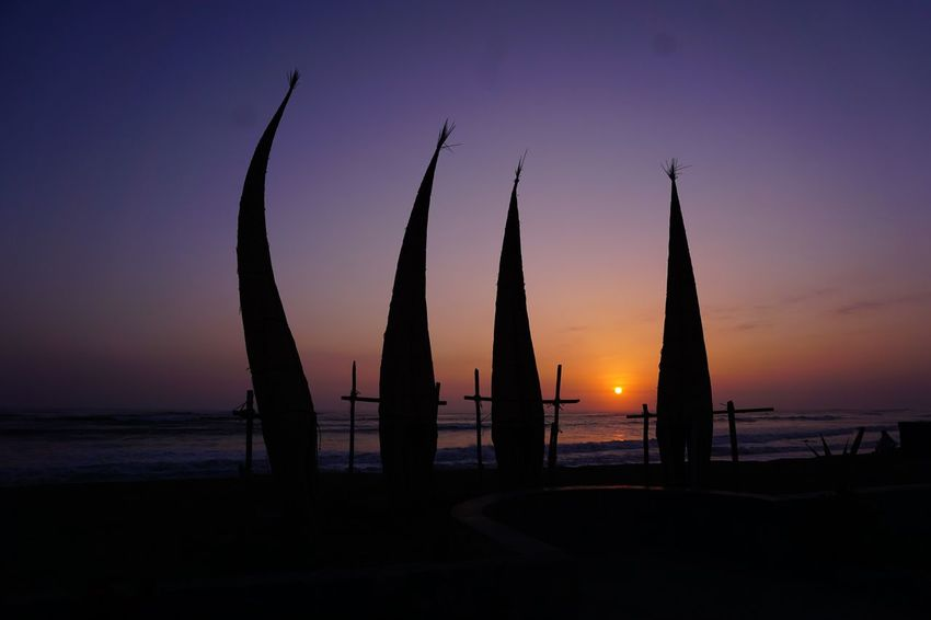 Sommergefühle Beach Canoe Surf Sunset Sea Silhouette Scenics Horizon Over Water Travel Destinations Orange Color Nautical Vessel Eye4photography  Sony A6000 The Purist (no Edit, No Filter) Life