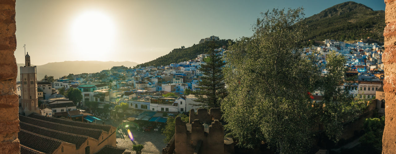 Chefchaouen Architecture Blue Building Chefchaouen City Day Green Light Maroc Morocco Mosque Mountain Mountains Old Pano Panorama Panoramic Roof Rooftop Sky Sun Town Travel Tree Trees