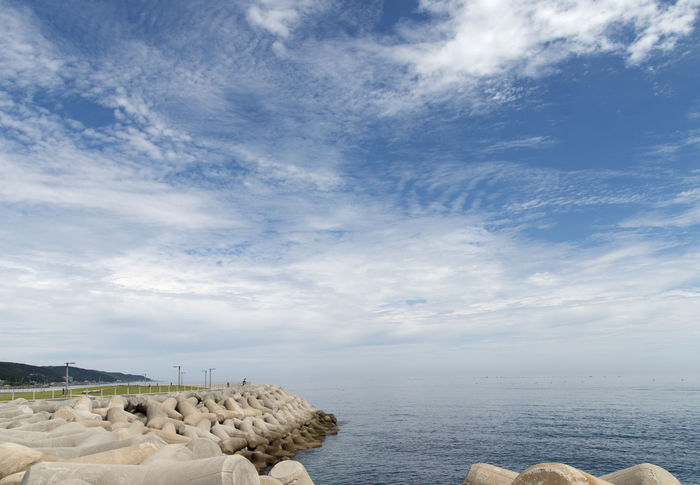 seaside with blue sky and white cloud at Haepalang Park in Yeongdeok, Geongbuk, South Korea White Clouds Architecture Beauty In Nature Blue Skky Built Structure Cloud - Sky Day Horizon Over Water Nature No People Outdoors Scenics Sea Seaside Sky Tranquil Scene Tranquility Water