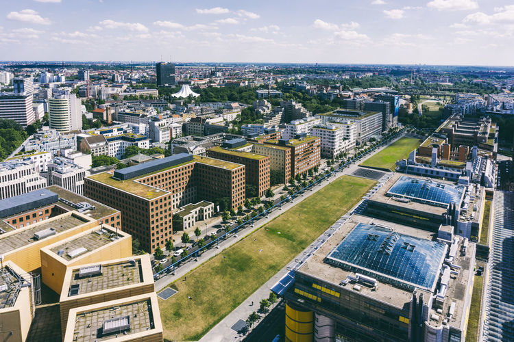 Aerial view of cityscape Aerial View Architecture Berlin Building Exterior Built Structure City Cityscape Cityscape Cloud - Sky Color Image Day Germany 🇩🇪 Deutschland High Angle View Horizontal Modern Nature No People Outdoors Panorama View Potsdamer Platz Sky Skyscraper Travel Destinations Tree Water