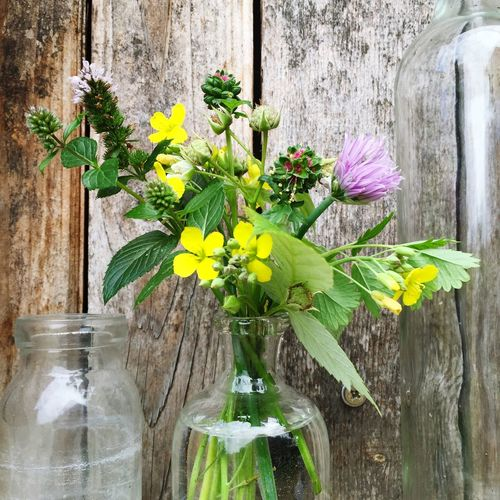 Close-Up Of Flower Vase Against Wooden Wall