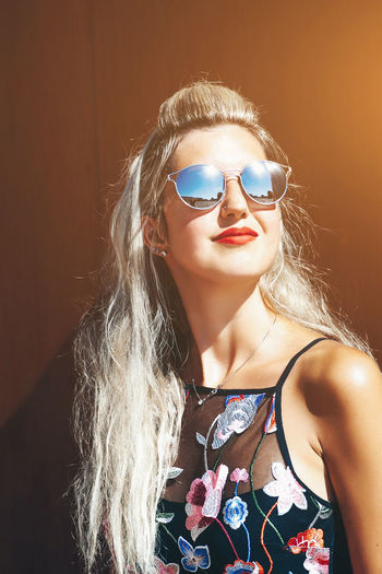 Fashion One Person Glasses Lifestyles Young Adult Sunglasses Young Women Leisure Activity Hair Front View Women Hairstyle Beautiful Woman Portrait Long Hair Blond Hair Real People Adult Teenager