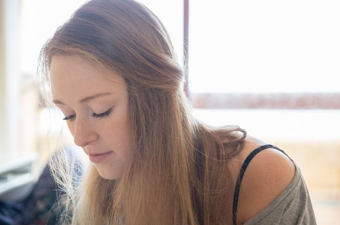 Dark Blonde Eyelashes Headshot Human Face Long Hair Looking Down Person Portrait Young Women