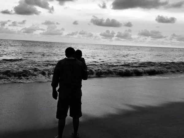 Horizon Over Water Sea Water Tranquil Scene Men Standing Solitude Remote Scenics Beach Idyllic Shore Relaxation Sky Ocean Calm Escapism Cloud Cloud - Sky
