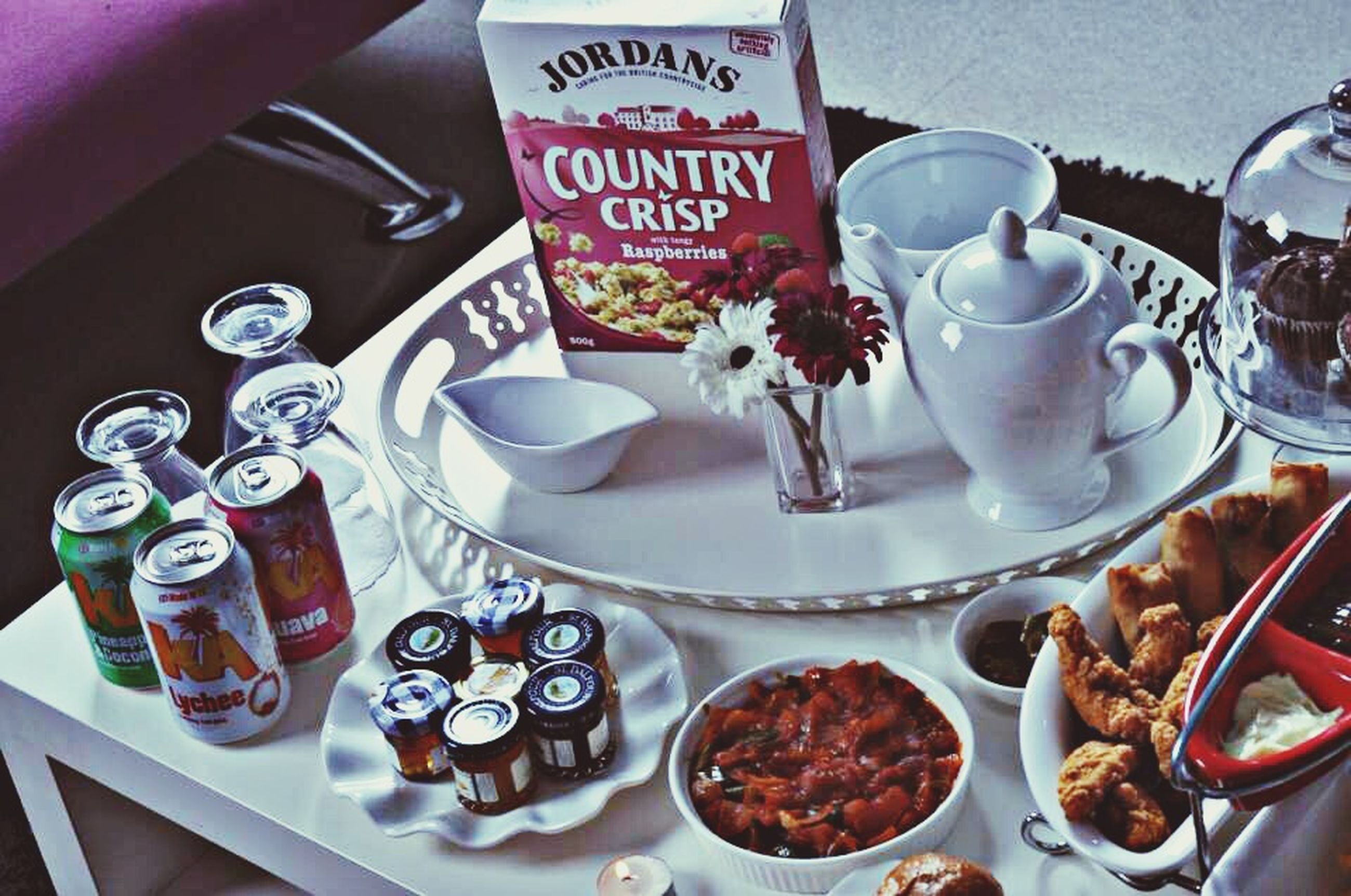 food and drink, indoors, freshness, drink, still life, food, table, coffee cup, plate, refreshment, text, western script, coffee - drink, high angle view, saucer, communication, spoon, healthy eating, ready-to-eat, sweet food