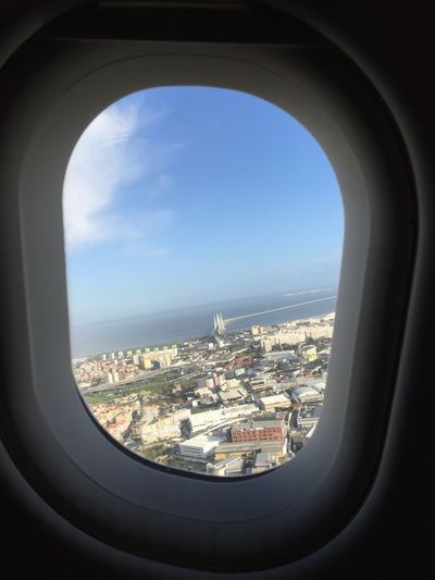 A Bird's Eye View Overhead View Over And Above Flying Window WINDOW WITH A VIEW Lisbon Lisboa From An Airplane Window From The Top From Above..