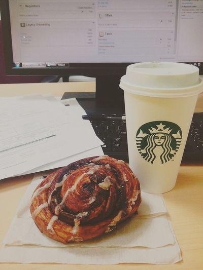 Quick break from my recruitment duties. Buhayrecruiter Jampacked Cinnamon Roll  Green Tea Latte