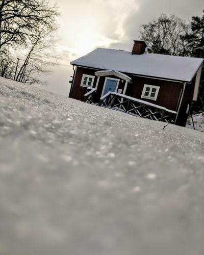 Cottage in Fjärdhundraland, Sweden. Pekoe.se Red House Sweden Stockholm Countryside Fjärdhundraland Snow Low Angle View Winter Outdoors Cold Temperature Snow Day No People Sky