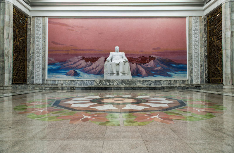 Art And Craft No People Indoors  Architecture Sculpture Statue Day North Korea Kim Il Sung Sitting Pyongyang Low Angle View Statue Architecture One Person Travel DPRKorea DPRK Pyongyang Architecture North Korea Photos Leisure Activity