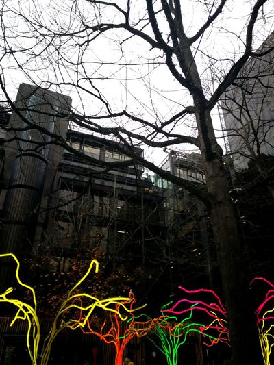 Tree Low Angle View Outdoors No People Sky Architecture Day City London Lights Christmas Decoration Christmas Tree Christmas Lights Liverpool Street Station Broadgate Circle City Life City View  Nature Photography Nature & Architecture