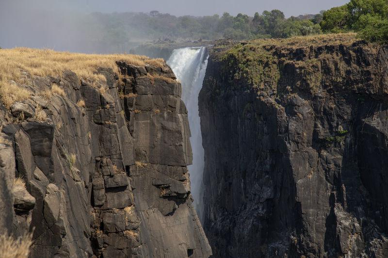 Panoramic view of victoria waterfall