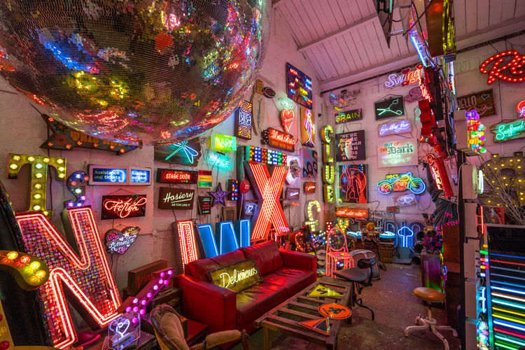 Neon signs and decorations at God's Own Junkyard in Walthamstow, London. Bright Colors Colourful Neon Signs City Lighting Illuminated Neon Neon Lights Urban Urban Lighting