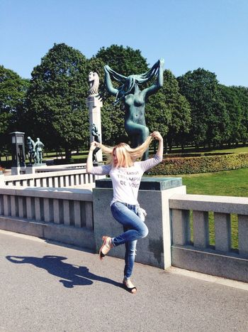 Frognerparken Frogner Oslo Norway Enjoying Life Having Fun Being Silly