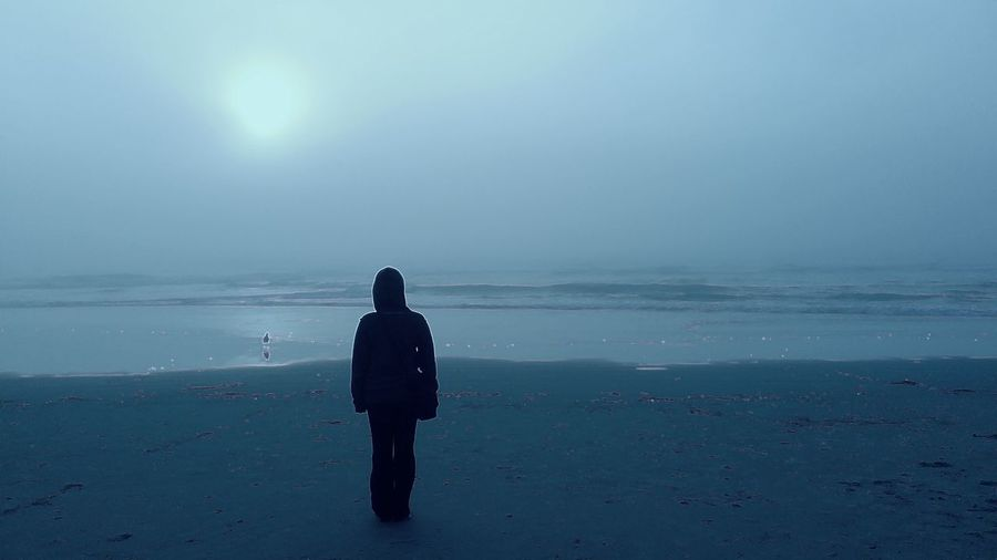 Hooded figure stands at shoreline Computer Virus Beach Beauty In Nature Clear Sky Day Full Length Hoodie Horizon Over Water Landscape Leisure Activity Lifestyles One Person Outdoors Real People Scenics Sea Silhouette Sky Standing Sun Tranquil Scene Tranquility Virus Protection Water Women