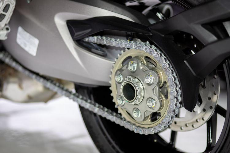 Close-up motorcycle wheel