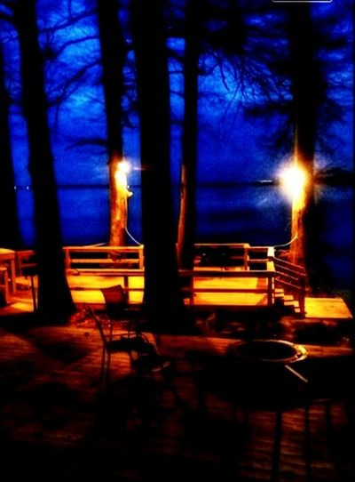 Night Illuminated Absence Chair No People Table Outdoors Nature Tree Sky