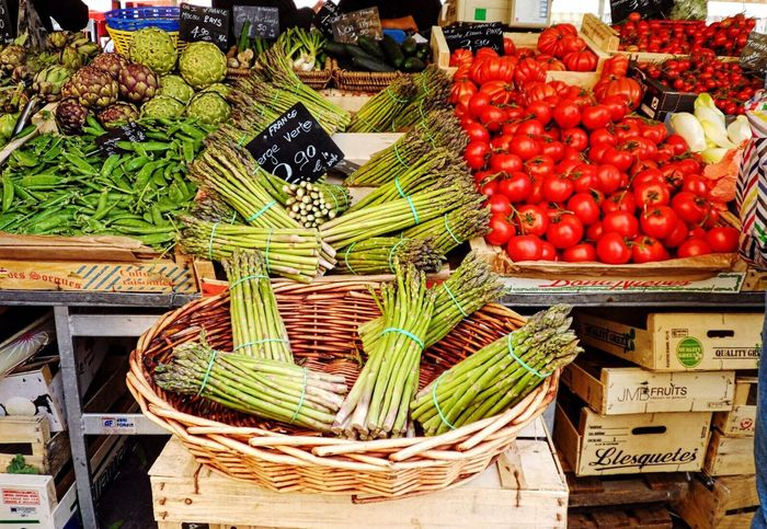 French market Old Nice. Vegetable Stall Légumes Fresh Produce Beautiful Display French Market Enticing Asparagus Tomatoes