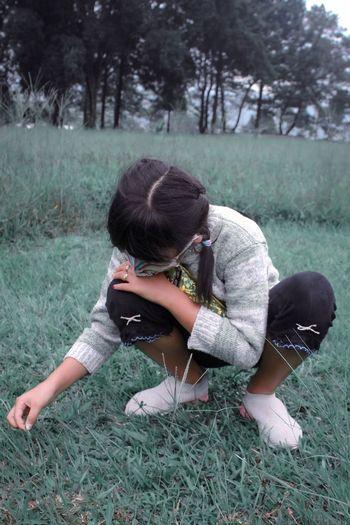 Rear view of woman on grassy field