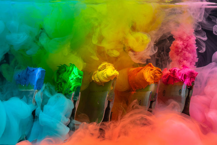 Multi colored powders splashing during festival