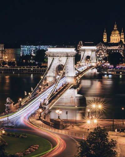High angle view of szechenyi chain bridge over river against sky at night
