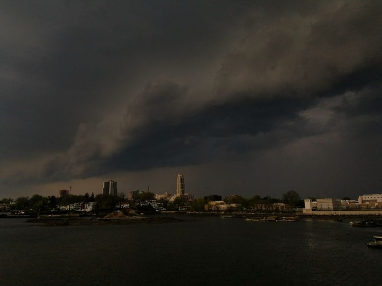 Shelf cloud passing through Five Islands Park, New Rochelle (5/3/2018) Dark City Cityscape Urban Skyline Skyscraper Downtown District Sky Architecture Building Exterior Extreme Weather Thunderstorm Storm Cloud Power In Nature