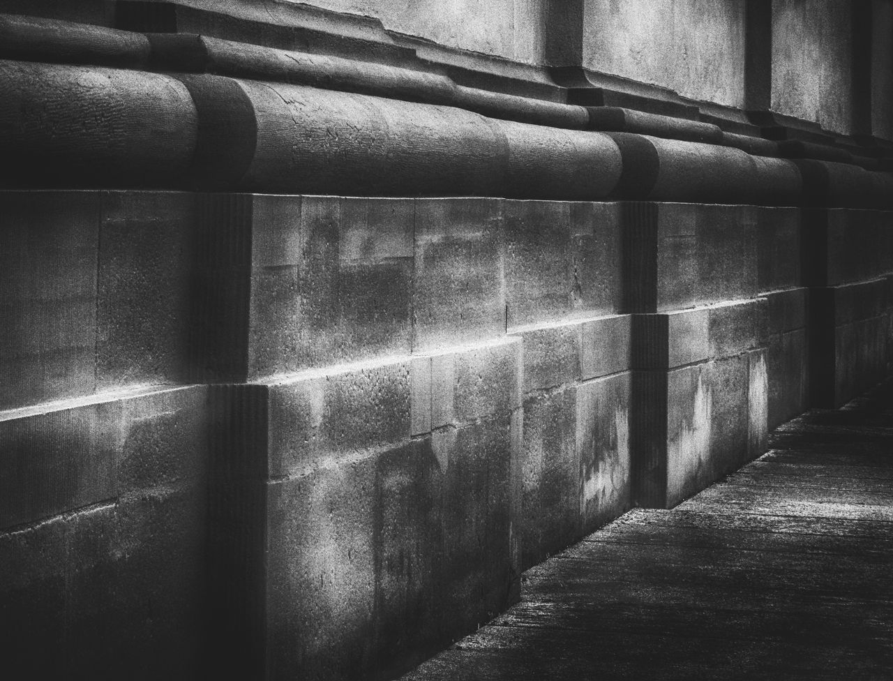 architecture, built structure, wall - building feature, no people, indoors, pattern, in a row, day, staircase, wall, pipe - tube, building, absence, direction, empty, industry, repetition, the way forward, concrete