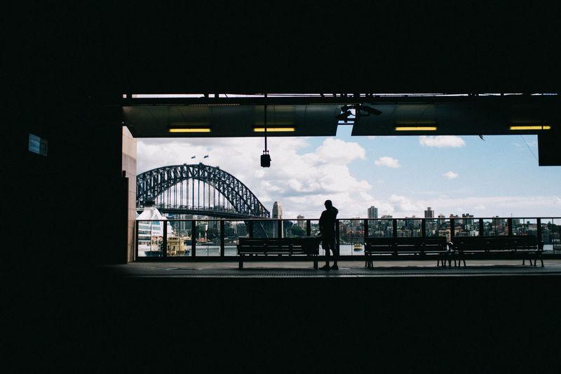 Sydney Harbor Bridge Seen From Building Against Sky