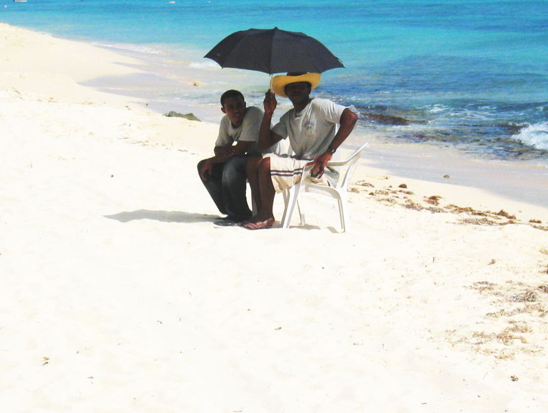 2007 Dominican Republic Dominicus Beach Beach Day Full Length Lifestyles Men Outdoors Sand Sea Shore Sitting Two People Umbrella Water