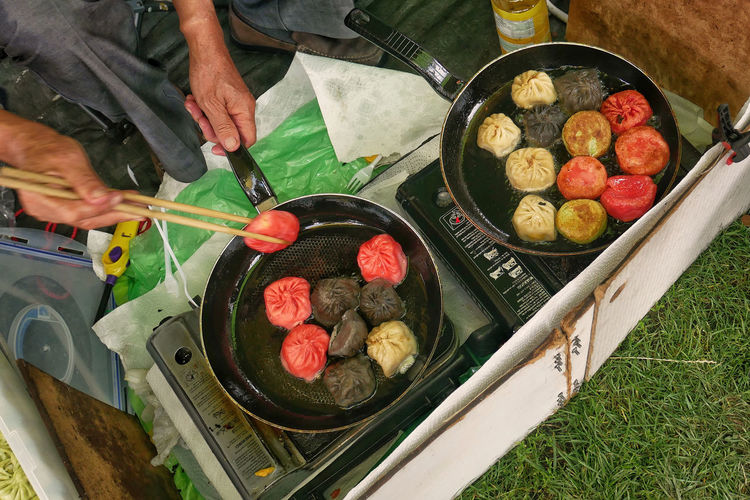 Delicious food at 'Thai Park' street food fest - Preussenpark Thai Adult Close-up Day Dumplings Food Food And Drink Freshness High Angle View Human Body Part Human Hand Men One Person Outdoors Park People Preparation  Real People Street Food Thai Food Working Strassenfilm