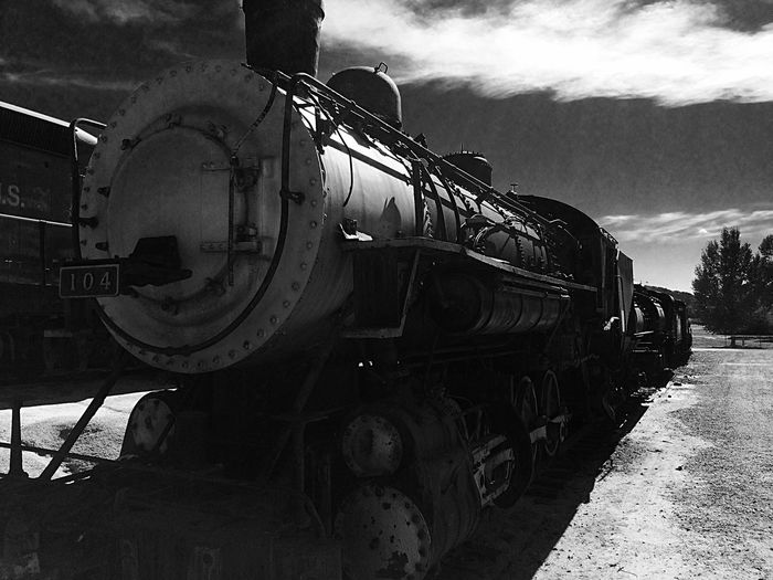 Monochrome Photography Transportation Mode Of Transport Old-fashioned Land Vehicle The Past History No People Old-fashioned Large Group Of Objects Man Made Object EyeEm Gallery Campo Ca Southern Pacific Railroad. IPhoneography Train Outdoors Photograpghy  Train Museum Weekend Activities Outdoors Railroad Track Metal Freight Transportation Train Engine Transportation