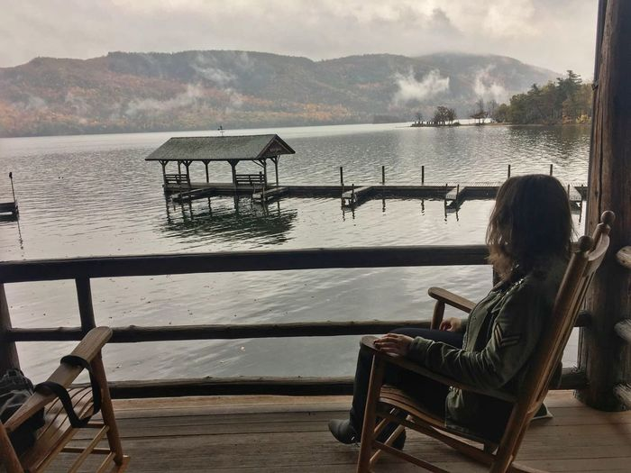 Lake Water Adult Rear View Adults Only People Outdoors Only Women Women Day Relaxation One Person Working Mountain Young Adult One Woman Only Nature Sky New York State Silver Bay Lake George NY Boathouse Check This Out It's Me Aupairlife