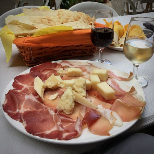 SardinianFood WineRed&White Tradiction Traditional Food Tradition Tranquility Food Food And Drink Wine Alcohol Refreshment Drink Wineglass Healthy Eating Still Life No People Ready-to-eat Bread Plate Table