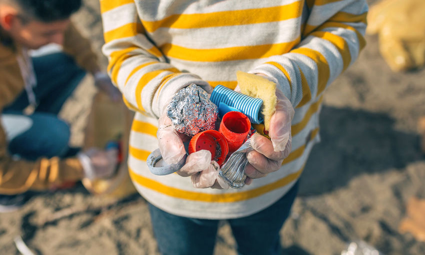 High angle view of woman holding ice cream