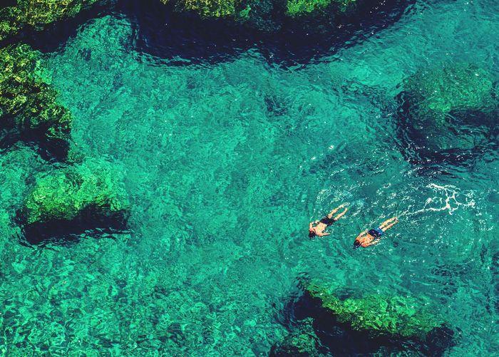 Two men swimming in blue water
