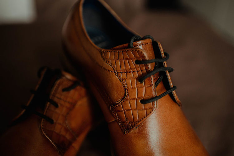 Close-up of brown leather shoes