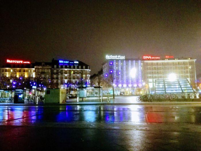 Architecture Building Exterior City Illuminated Night Nightlife Outdoors Wet