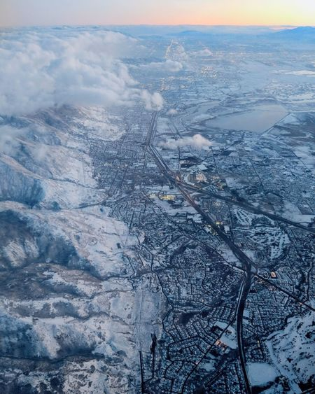 winter wonderland from on high Aerial View Sunset Outdoors Scenics Cold Temperature Snow Ice Nature Landscape Winter Beauty In Nature No People Sky Shades Of Winter