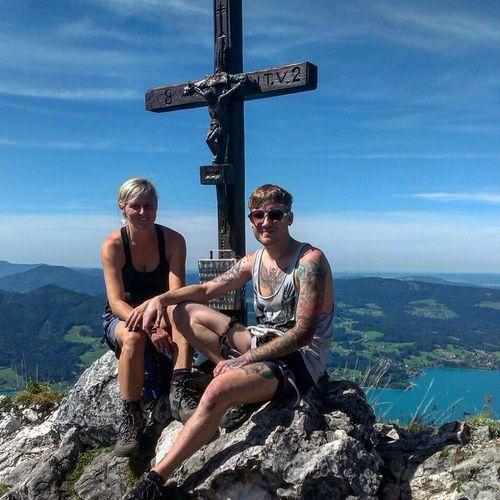 Climbing Mountain Mountains Austria Summit Gipfelkreuz Klettersteig Attersee Lake Nature