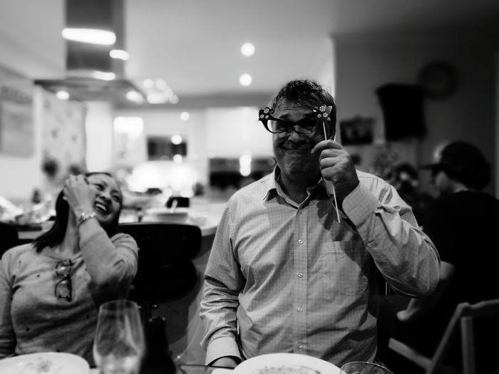 Xmas Dinner Done Candid Real People Eyeglasses