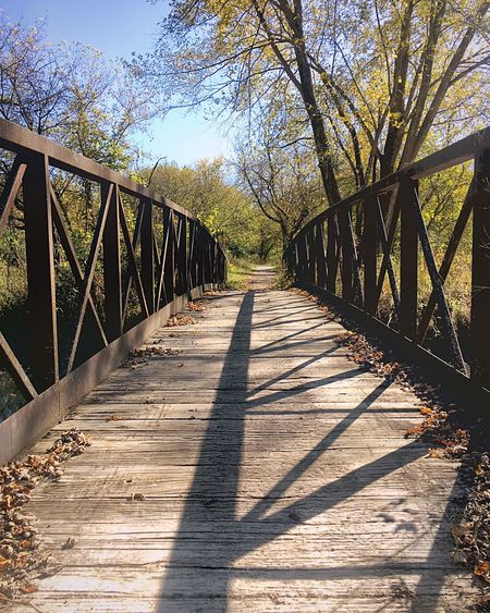 Sunlight Shadow Bridge - Man Made Structure The Way Forward Railing Outdoors Day Tree Wood - Material Nature Footbridge No People Sky