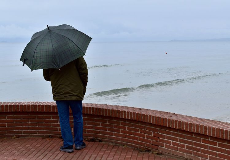 Rear view of man standing on beach during rainy day