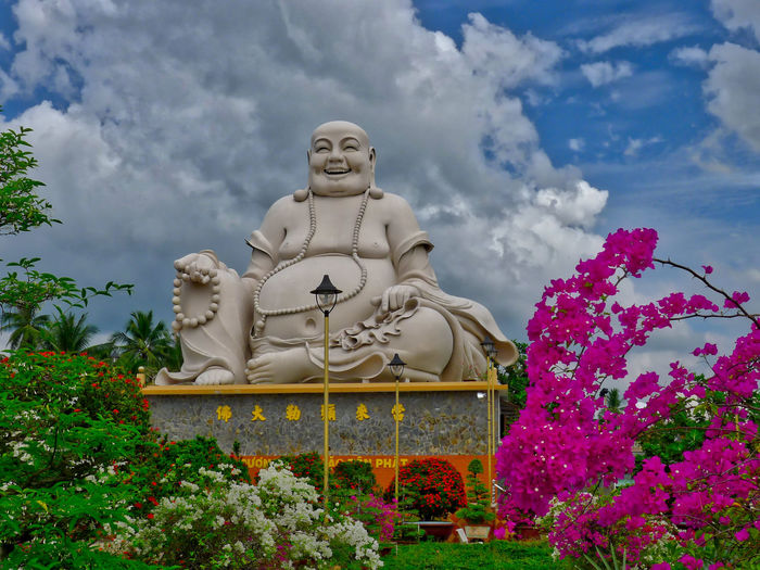 Buddhist Temple Cloud - Sky Day Idol Low Angle View No People Outdoors Religion Sculpture Sky Statue Tree Vinh Trang Pagoda