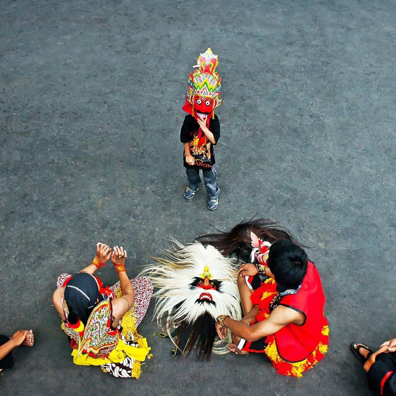 High Angle View Of Folk Dancers