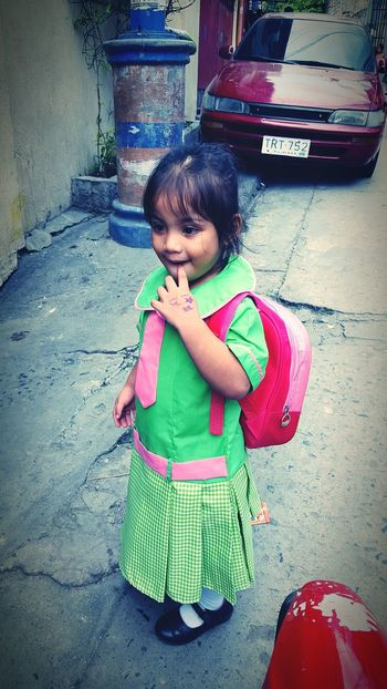 School day my princess (samsung s6 shot) Childhood Elementary Age Leisure Activity Cute Lifestyles Innocence Person Casual Clothing Full Length Green Color Person Toddler  Day Baby Clothing In Front Of Beauty Togetherness Portrait