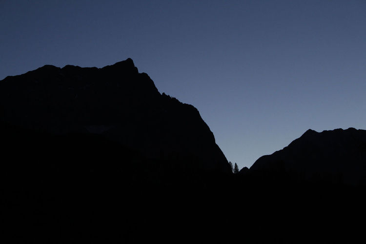 Silhouette of mountain range against clear sky