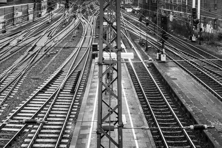 Black & White Rails Black Black And White Blackandwhite Cable Complexity Connection Go-west-photography.com High Angle View Night Outdoors Public Transportation Rail Rail Transportation Railroad Track Real People Technology Transportation