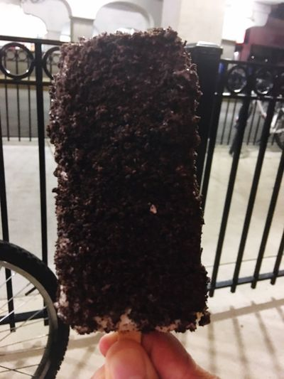 White Chocolate Oreo dipped ice cream bar at Gordo's Dipped Ice Cream Bars Gordos  Edgewater
