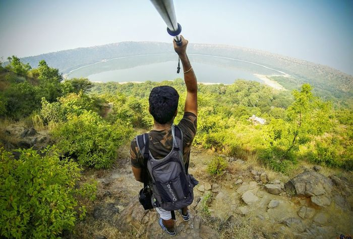 My Year My View Sky One Person Outdoors Sunlight One Man Only Adults Only Nature GoPrography Gopro Selfies Crater Lake Maharashtra India Traveling Travel Destinations Traveller Lost In The Landscape