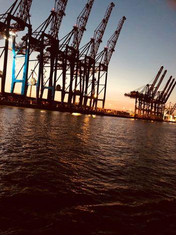 Hamburg ♥️ Water Sky Machinery Sunset Crane - Construction Machinery Sea Nature Industry Outdoors Clear Sky