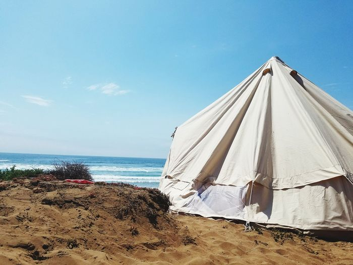 Lost In The Landscape Tent On Beach In Mexico Erendira Mexico Offroading In Mexico Beach Festival In Mexico Baja California Mexico Summertime Beach In Mexico Teepee On The Beach Festival Living Teepee Life White Tent Blue Skies Peaceful Happy Carefree Summer Camping Beach Camping Summer Exploratorium